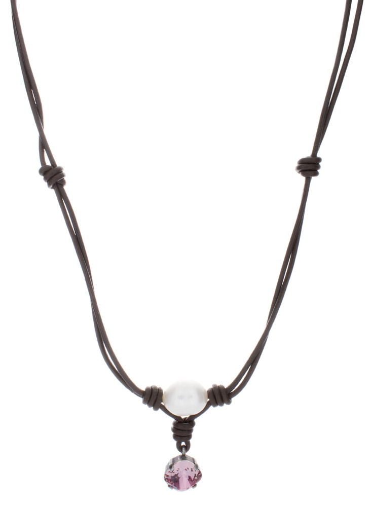 Necklace Leather and Pearl Mother of Pearl  - 12mm