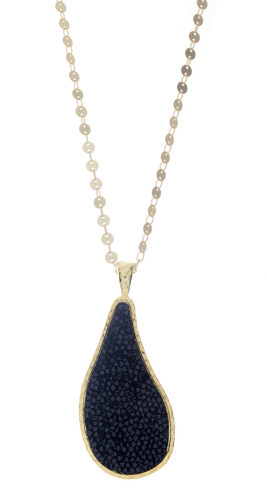Crystal Teardrop Rock - Gold Chain - Black