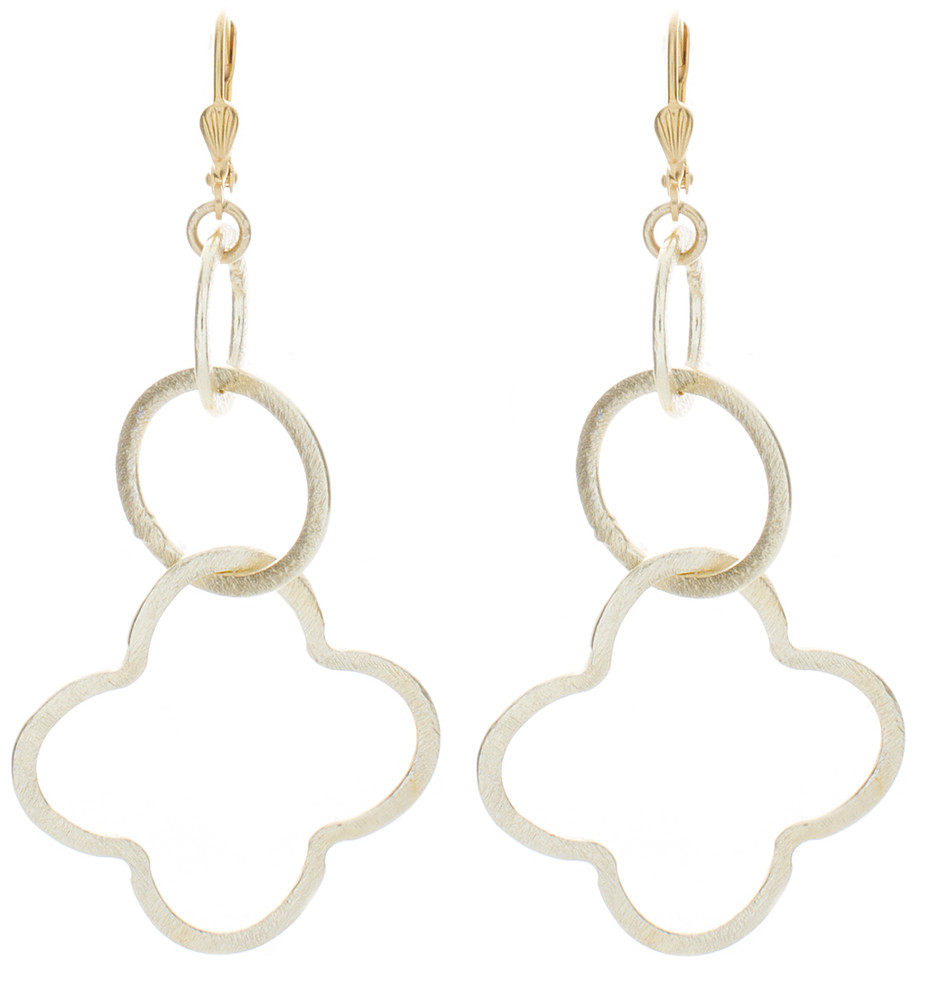 Circle Clover Earrings - Gold
