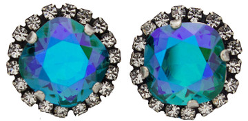 Earring - Crystal Wrap 12mm Square Studs - Silver Tone