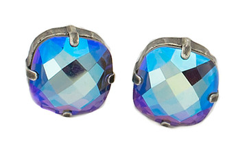 Earring - 16mm Rounded Square Ultra Studs Silver Tone