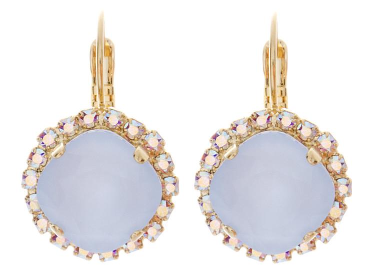 Earring - Crystal Wrap 12mm Square Dangle - Goldtone