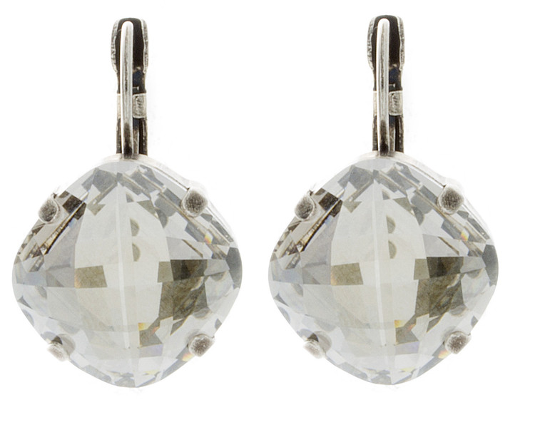 Earring - 16mm Rounded Square Regular Dangles - Silver Tone