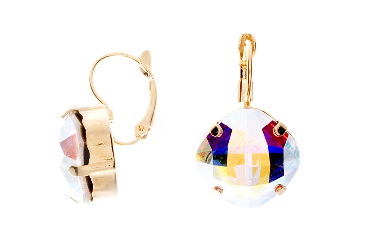 Earring 16mm Rounded Square Ultra Dangle Gold Tone