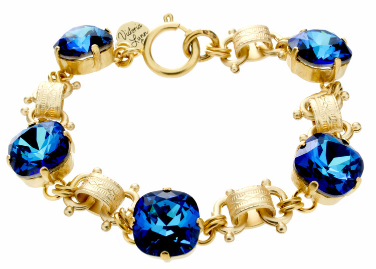Bracelet 12mm Crystal Victorian Chain Gold