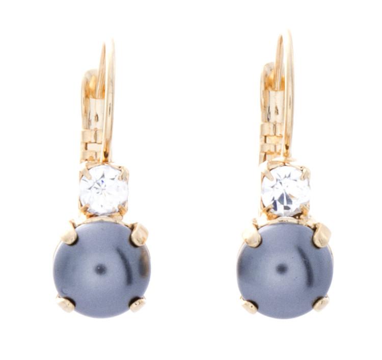 Earring 8mm Crystal Top Pearl Dangle