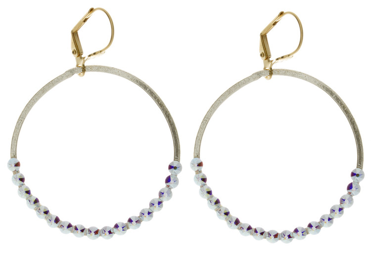 Hoop with Set Crystals - Earrings Goldtone