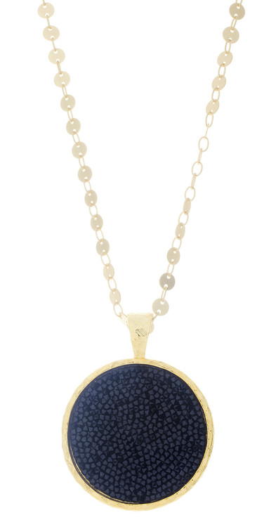 Crystal Circle Rock-  Gold Chain - Black