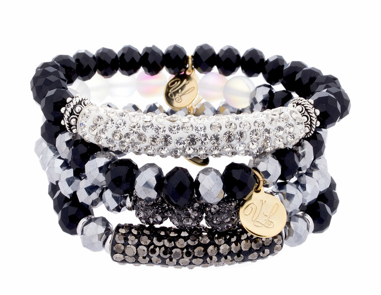 Stack Bracelets - Set of 4- Blacks