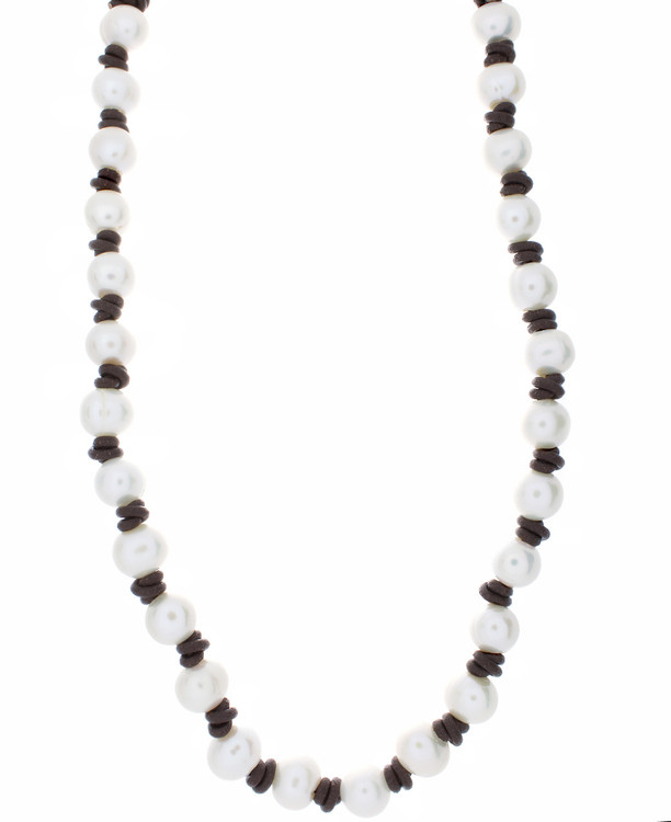 Leather &  Pearl Choker Necklace