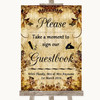 Autumn Vintage Take A Moment To Sign Our Guest Book Personalised Wedding Sign