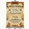 Autumn Vintage Welcome To Our Engagement Party Personalised Wedding Sign