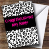 Black And White Leopard Print Personalised Congratulations Card