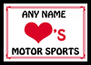 Love Heart Motor Sports Personalised Placemat