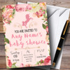 Pink Roses Unicorn Invitations Baby Shower Invitations