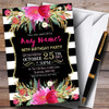 Pink Black & White Striped Floral 90th Personalised Birthday Party Invitations