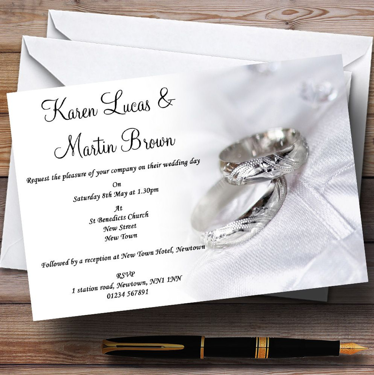 Classy White And Silver Rings Personalised Wedding Invitations - The ...