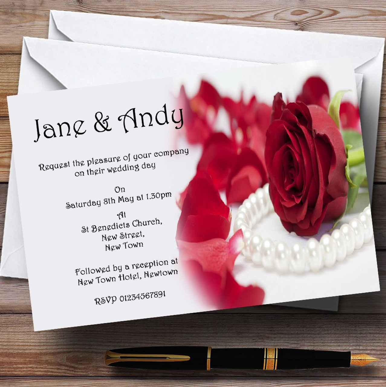 White Pearl Red Rose Personalised Wedding Invitations - The Card Zoo