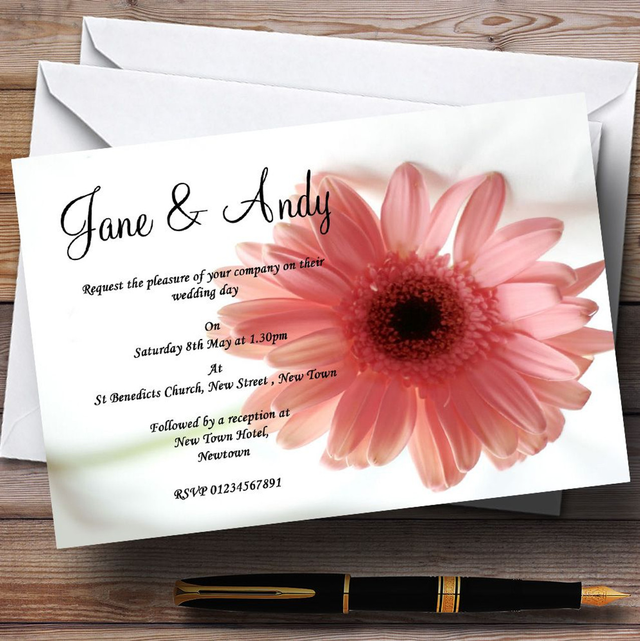 Stunning Classy & Subtle Pink Flower Personalised Wedding ...
