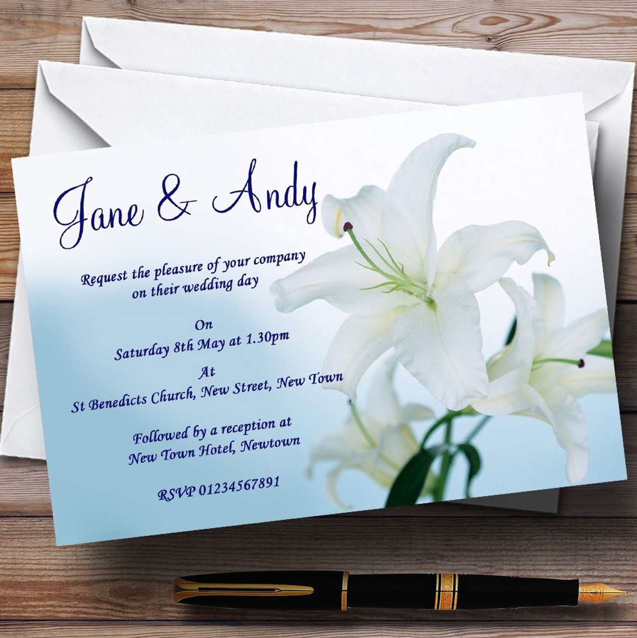 White blue lily flower personalised wedding invitations the card zoo white blue lily flower personalised wedding invitations izmirmasajfo
