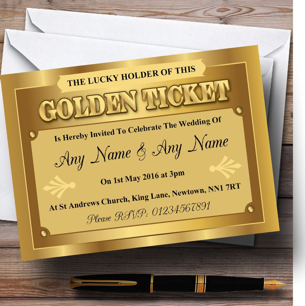 Golden Ticket Personalised Wedding Invitations - The Card Zoo