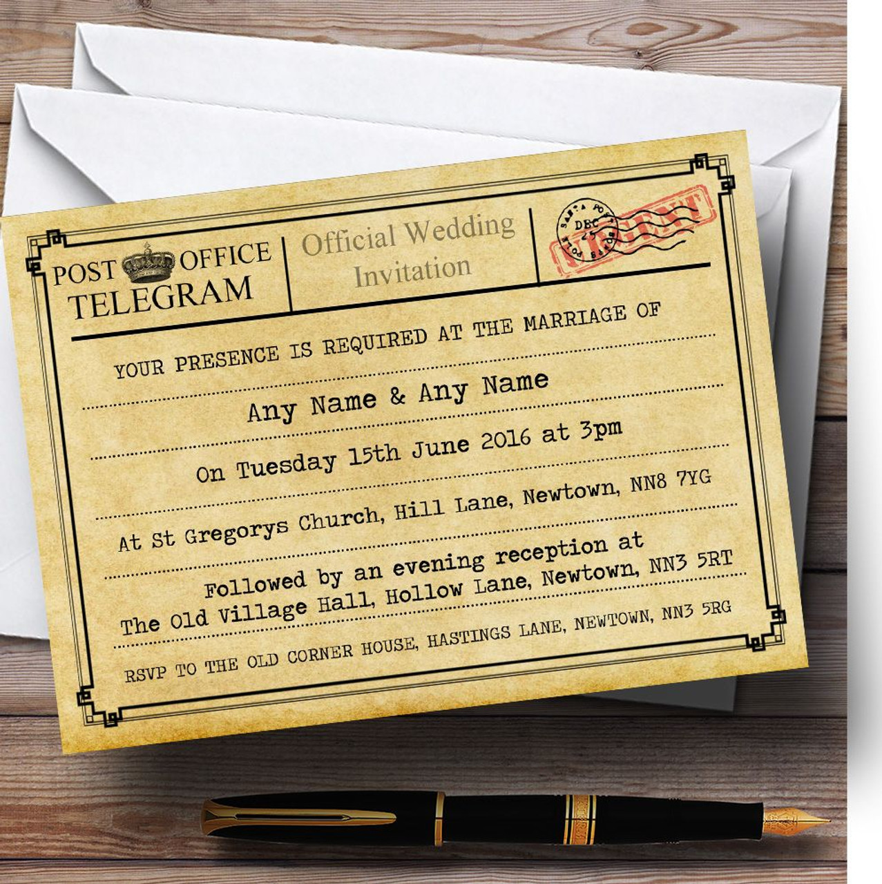 Vintage Telegram Typewritten Personalised Wedding