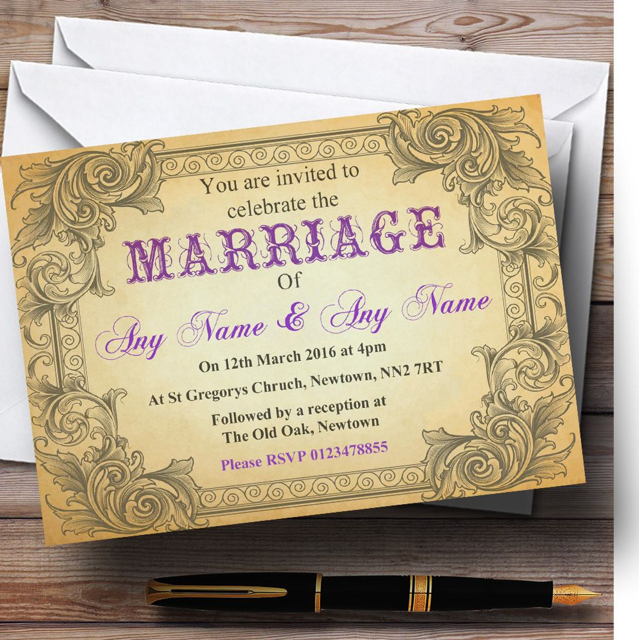 Typography Vintage Purple Postcard Personalised Wedding Invitations ...