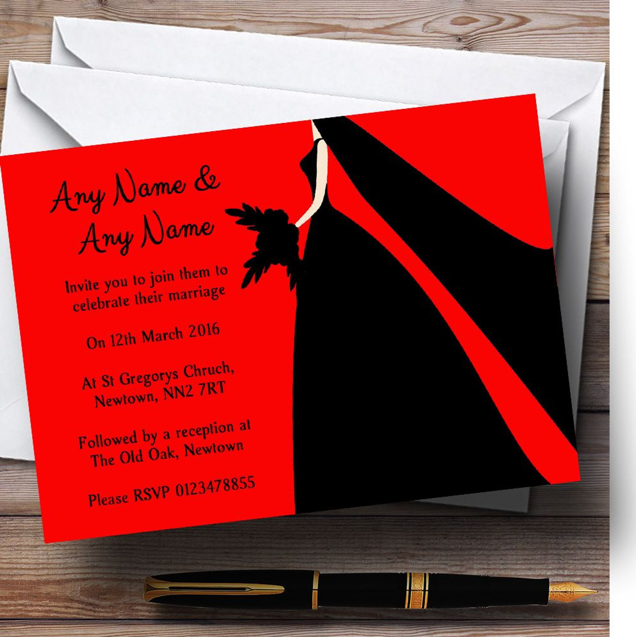 Red Black Bride Personalised Wedding Invitations - The Card Zoo
