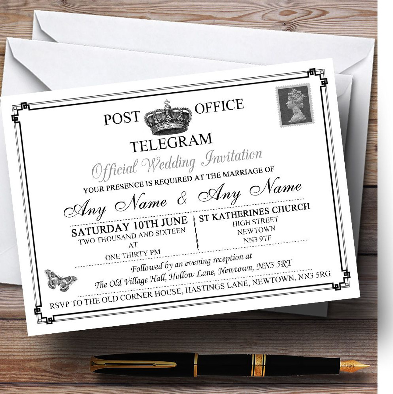 Vintage Telegram Elegant White Personalised Wedding Invitations ...