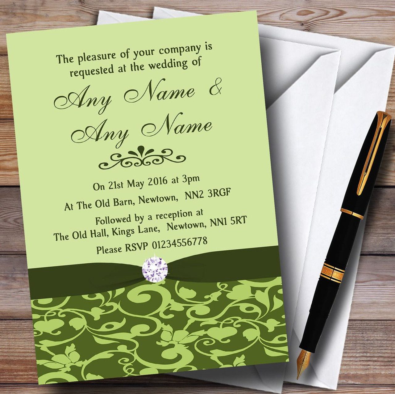 Olive Green Vintage Floral Damask Diamante Personalised Wedding