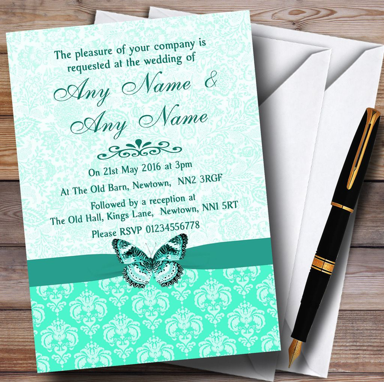 Mint Green Vintage Floral Damask Butterfly Personalised Wedding