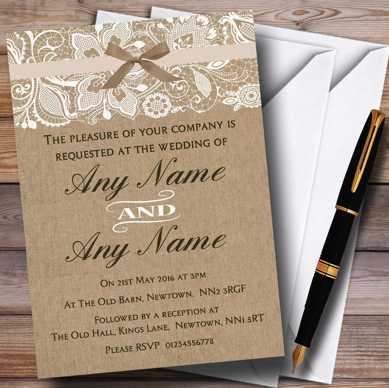 Vintage Burlap & Lace Personalised Wedding Invitations - The Card Zoo