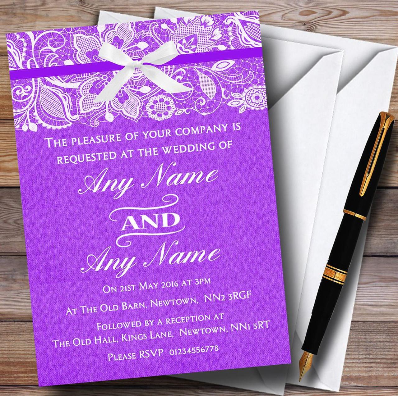 Vintage Cadbury Purple Burlap & Lace Personalised Wedding ...