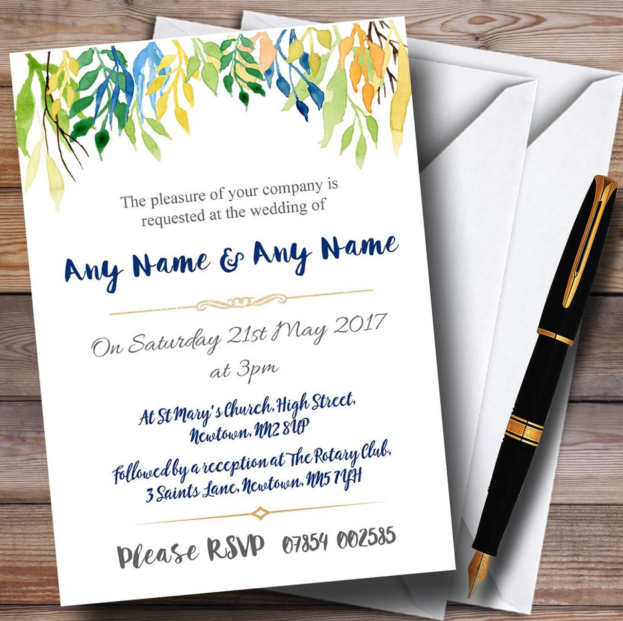 Autumn Leaves Watercolour Floral Header Personalised Wedding ...