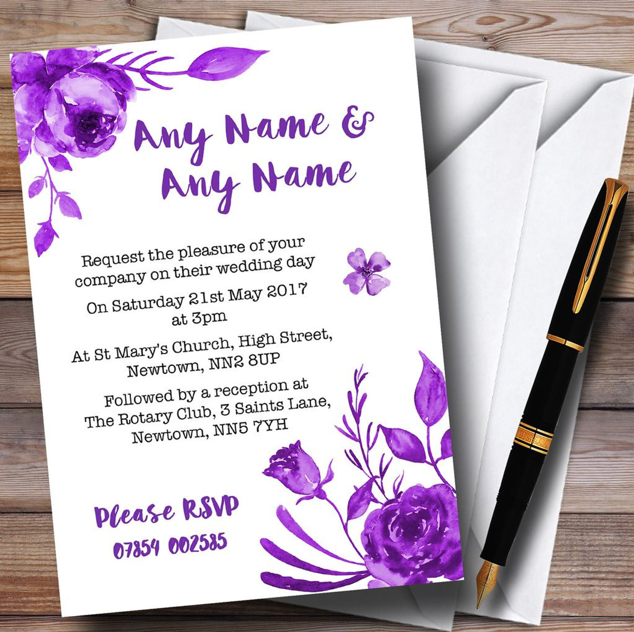Cadbury Purple & White Watercolour Floral Personalised Wedding ...