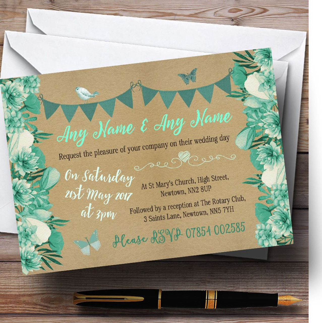 Teal & Mint Green Rustic Bunting & Floral Personalised Wedding ...