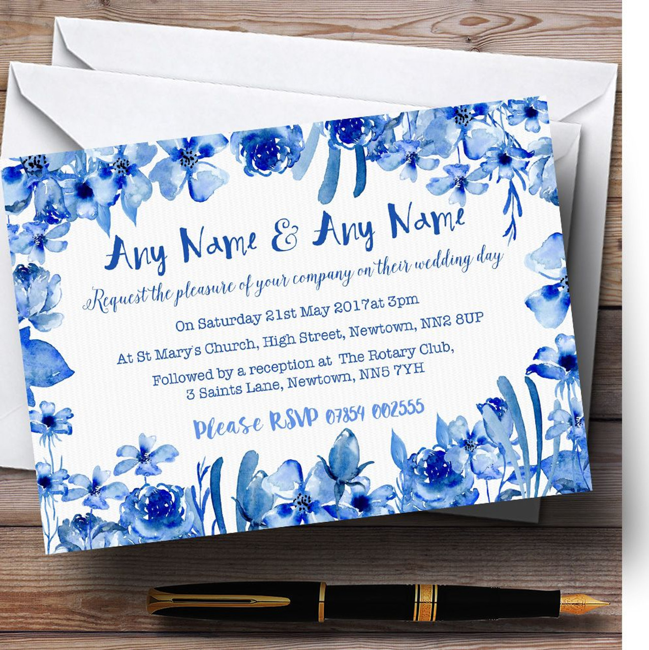 Watercolour Indigo Blue Floral Personalised Wedding Invitations ...
