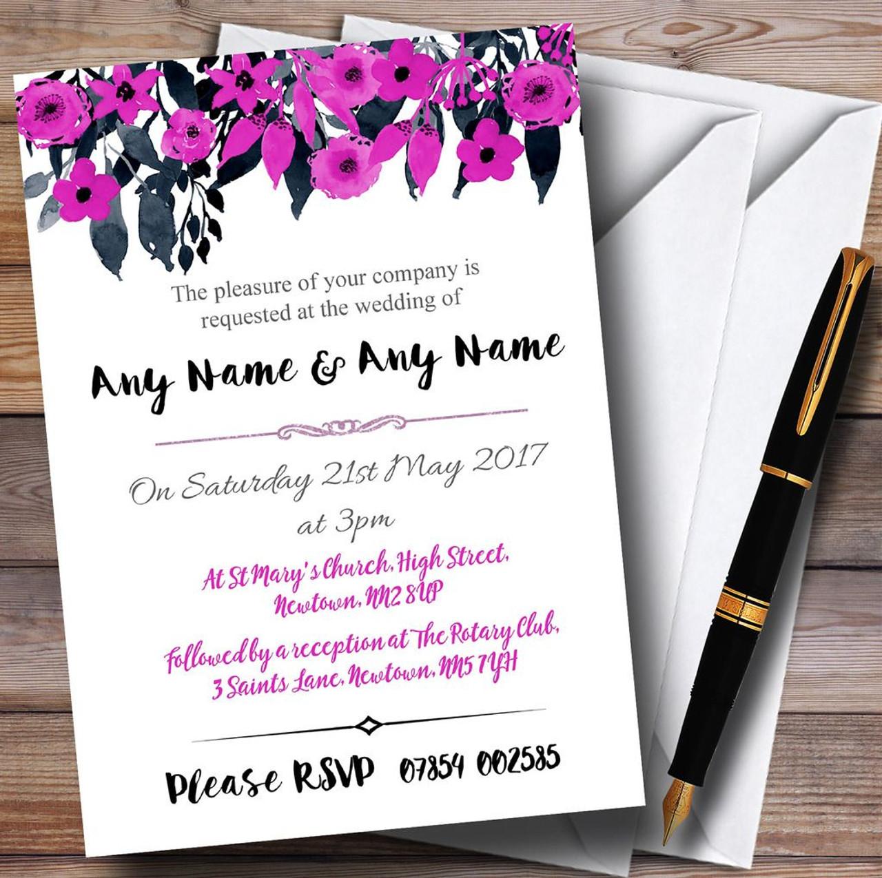 Watercolour Black & Hot Pink Floral Header Personalised Wedding ...