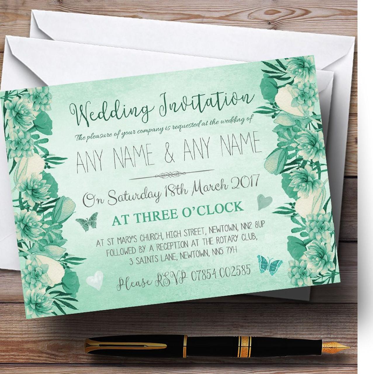 Pale teal mint green vintage watercolour floral personalised wedding pale teal mint green vintage watercolour floral personalised wedding invitations solutioingenieria Choice Image