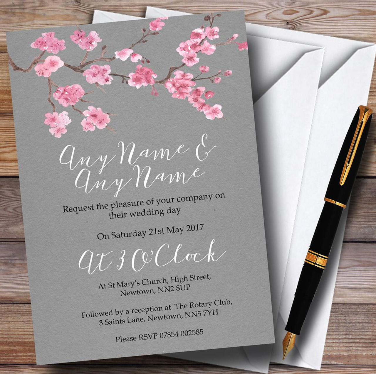 wedding invitations east london south africa%0A Rustic Vintage Dark Grey Pink Blossom Personalised Wedding