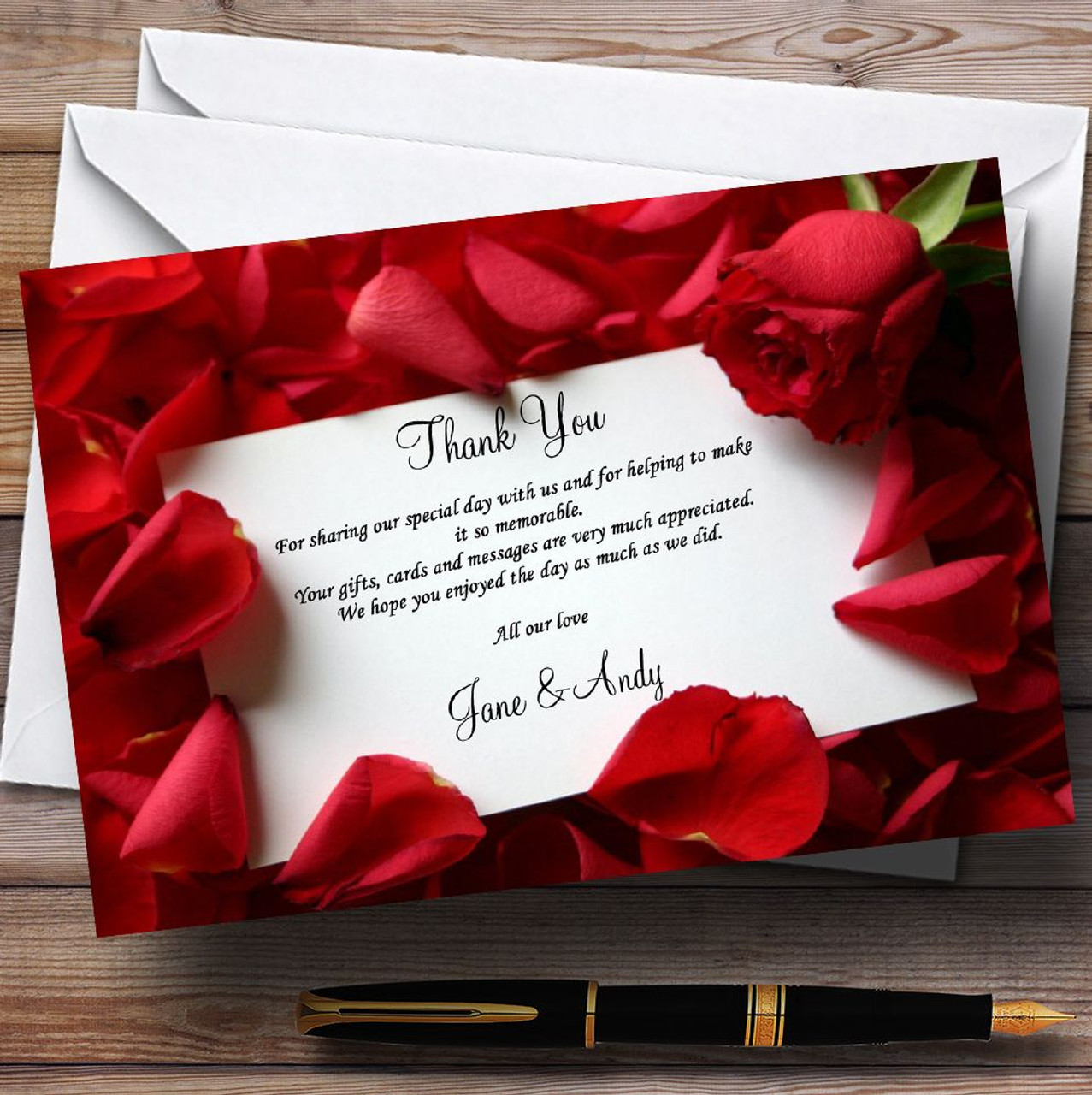 Red Rose Love Note Personalised Wedding Thank You Cards - The Card Zoo