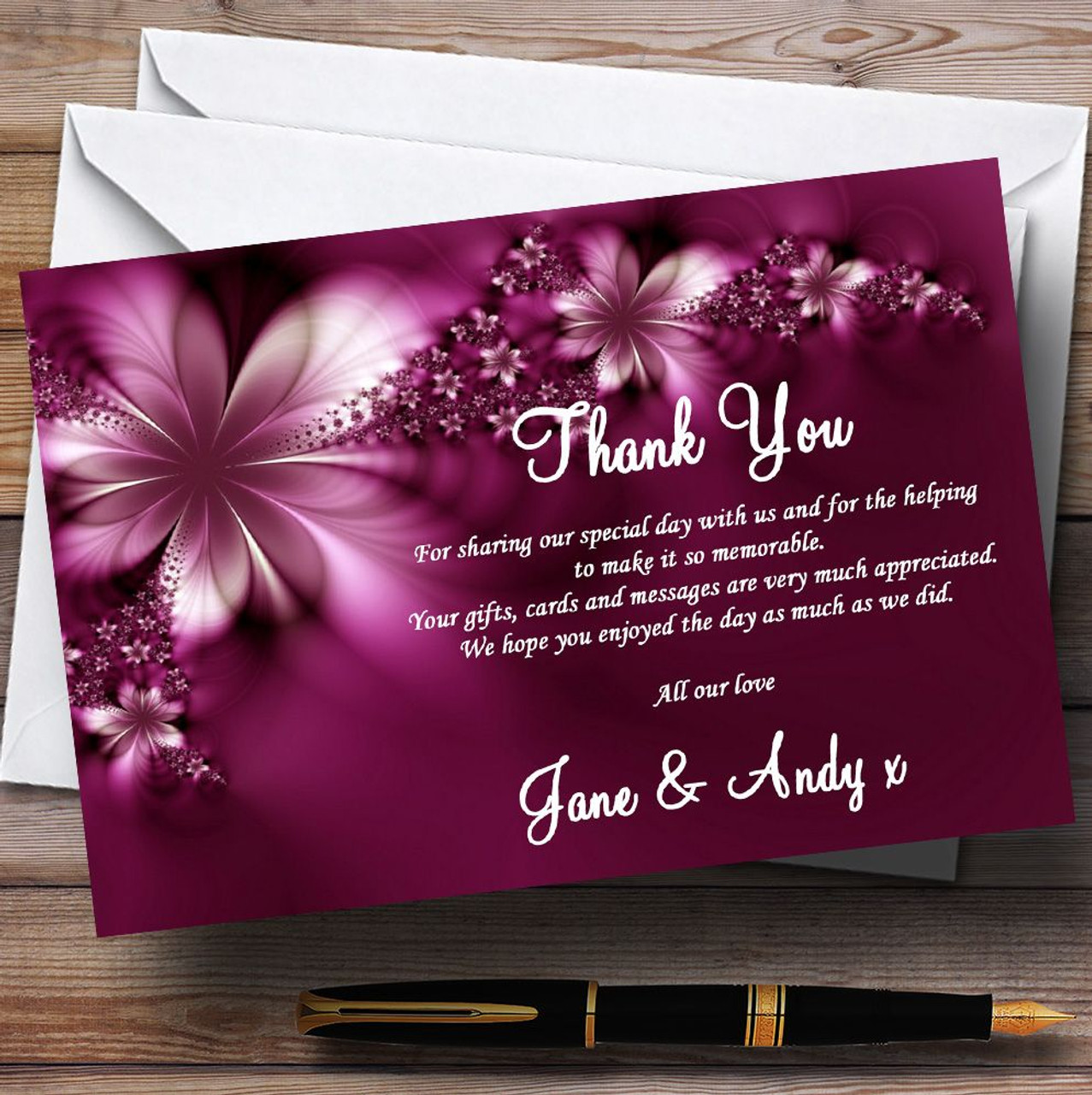 Beautiful Purple Personalised Wedding Thank You Cards   The Card Zoo