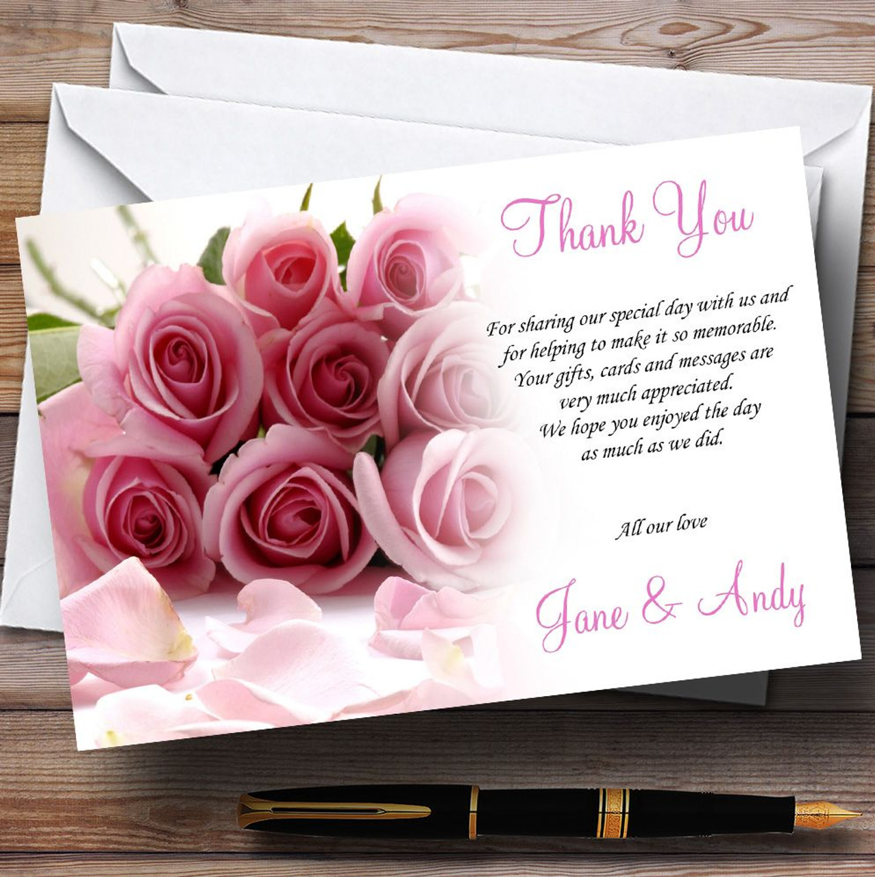 Baby Pink Roses Personalised Wedding Thank You Cards - The Card Zoo