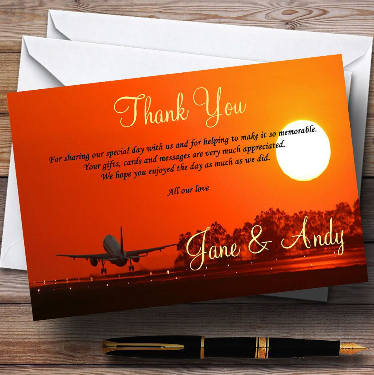 Plane Taking Off Into Sunset Jetting Off Abroad Personalised Wedding ...