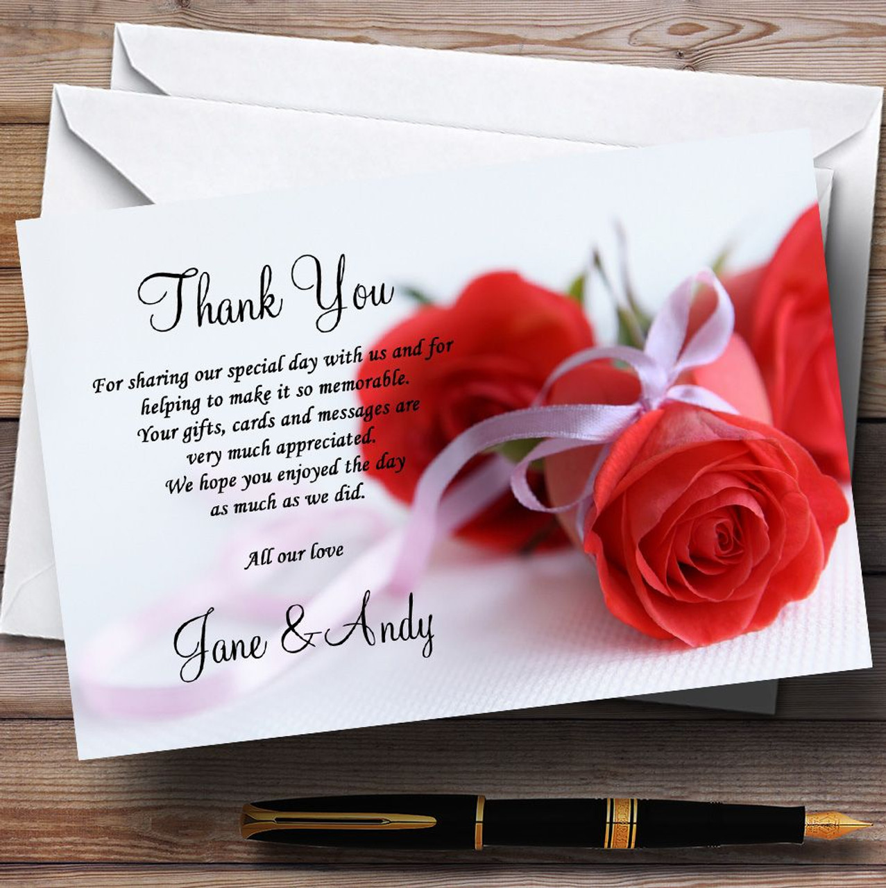 Red Rose & White Ribbon Personalised Wedding Thank You Cards - The ...