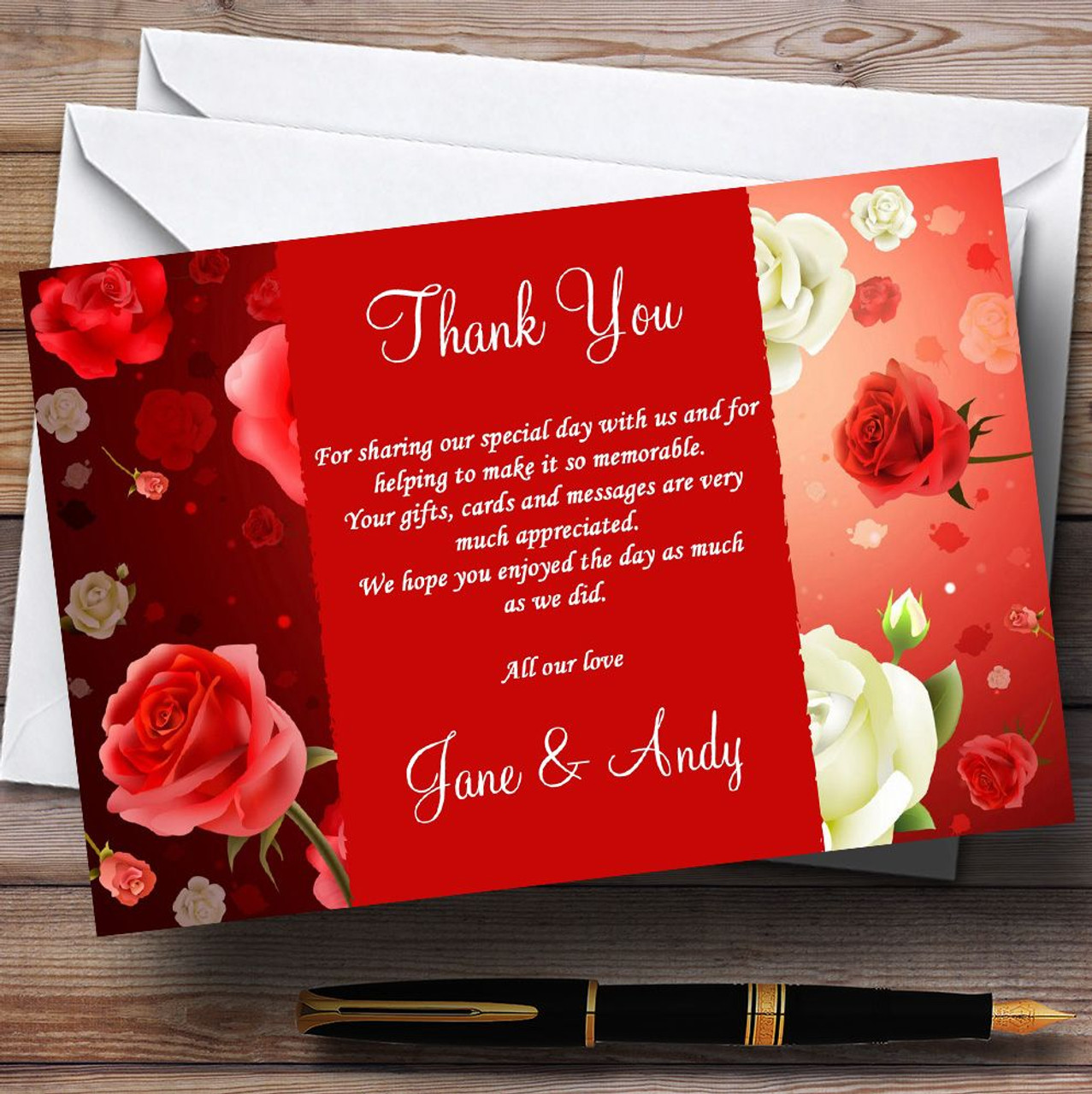 Red And White Roses Personalised Wedding Thank You Cards - The Card Zoo