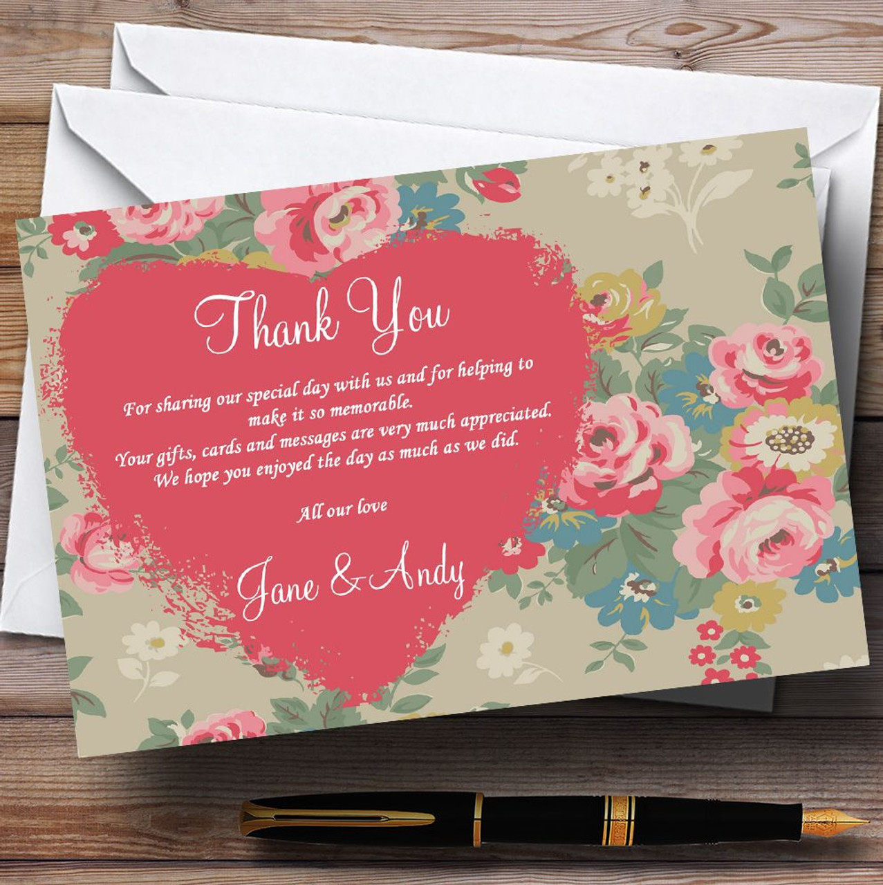 Cath Kidston Inspired Vintage Personalised Wedding Thank You Cards ...