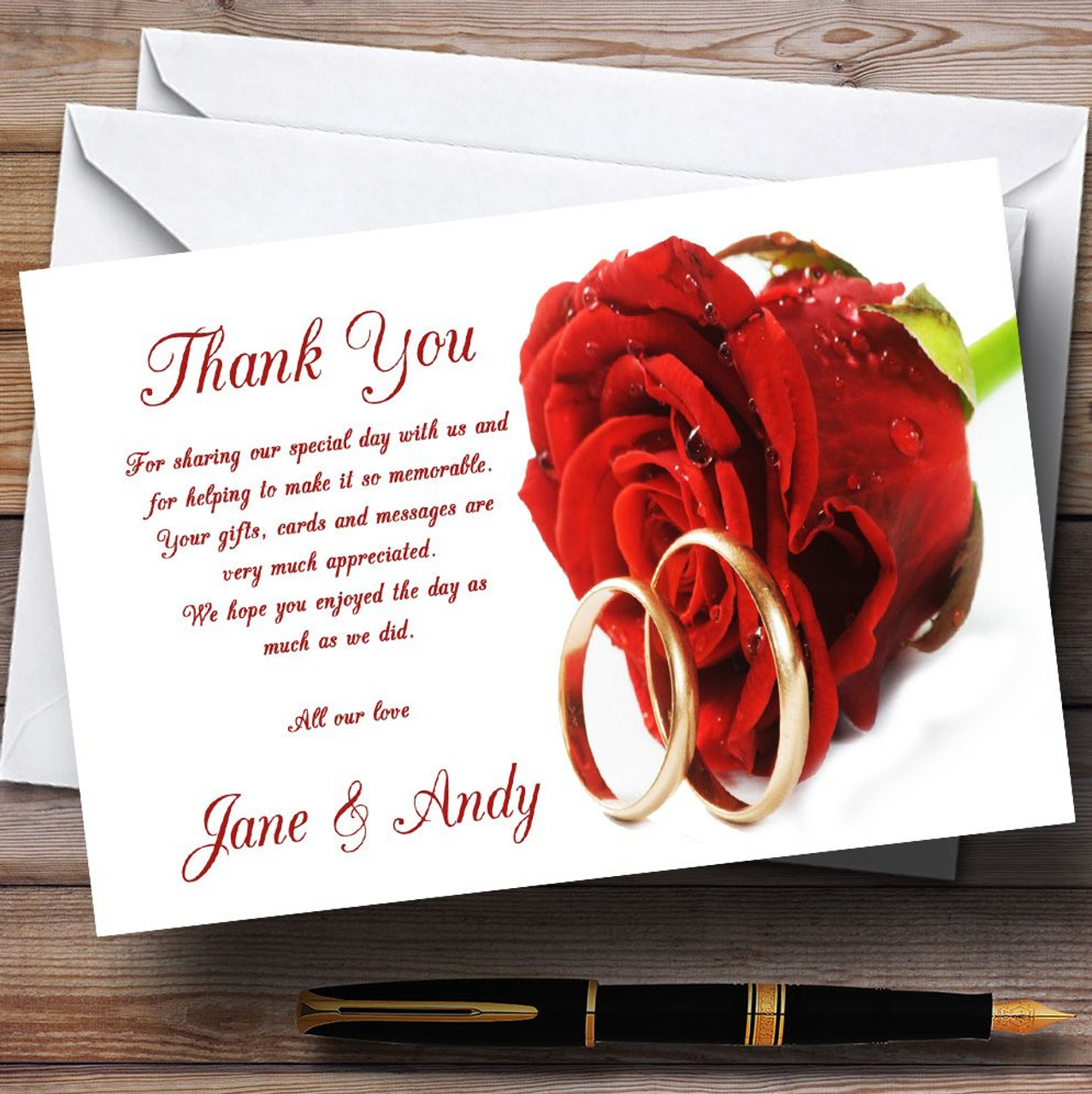 Red Roses Champagne Personalised Wedding Thank You Cards - The Card Zoo