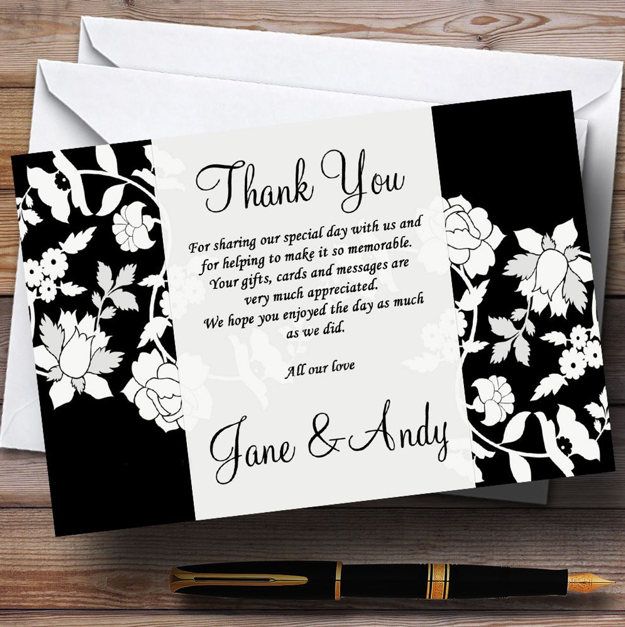 Black And White Floral Flower Personalised Wedding Thank You Cards