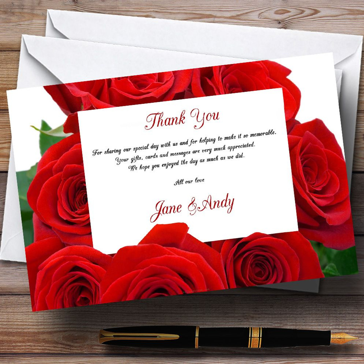 Red Rose Love Letter Personalised Wedding Thank You Cards - The Card Zoo